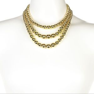 NWOT 3 Layer Gold Beads Necklace